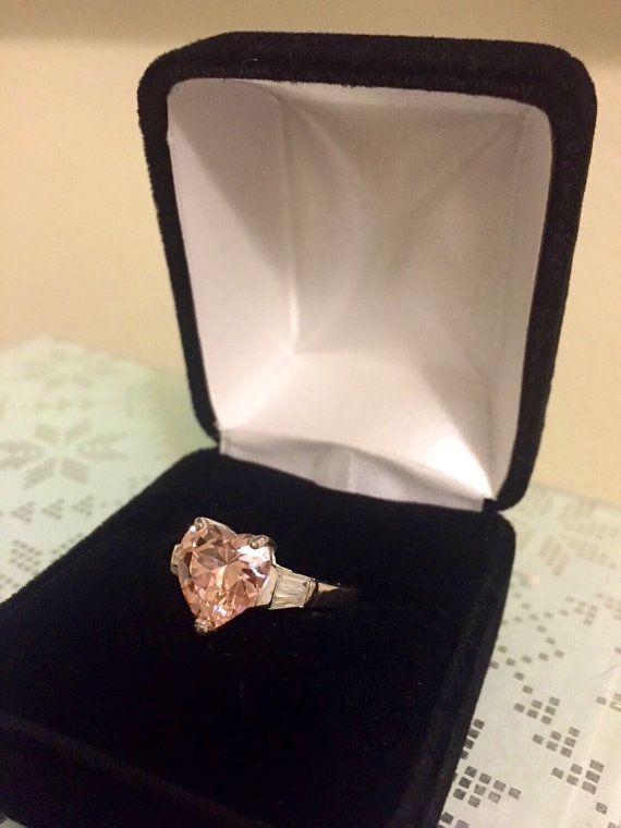 Valentine's Day Pink Topaz Heart Ring by BlueDaisyClassics on Etsy