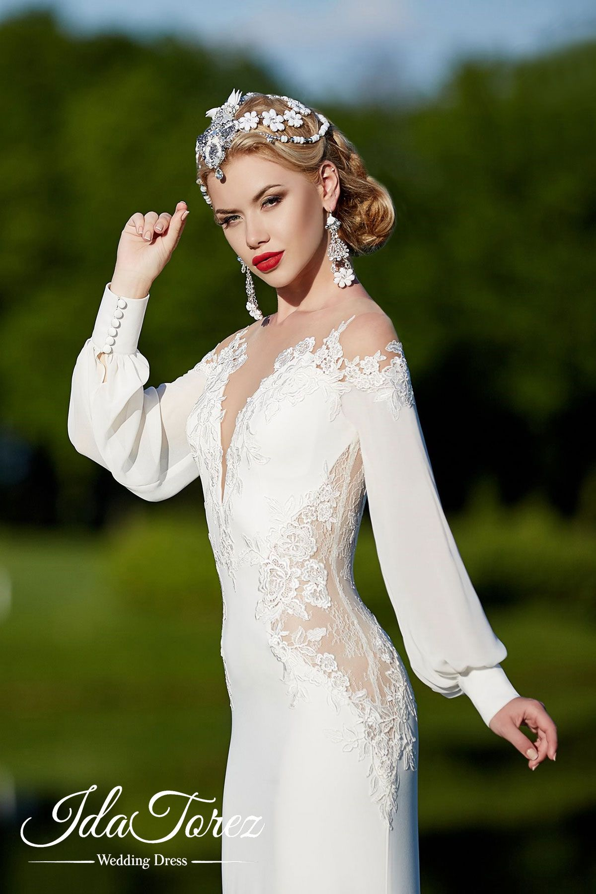 73eda9a086c Trendy Trumpet-Mermaid Illusion Natural Court Train Stretch Crepe Ivory  Long Sleeve Buttons Wedding Dress