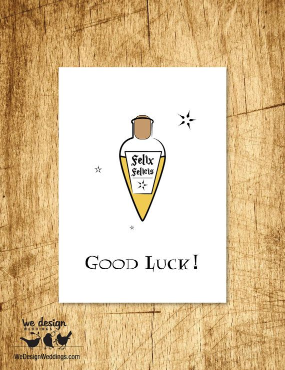 Printable Harry Potter Good Luck Greeting Card Diy Digital Download Design Features A Vial O Harry Potter Birthday Cards Harry Potter Cards Good Luck Cards