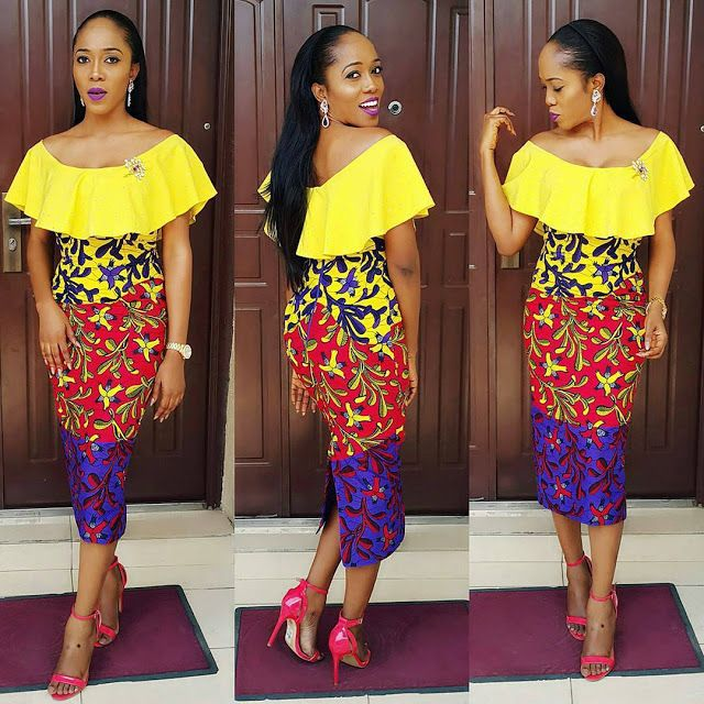 Ankara And Plain Material Styles Lovely Short Gowns For Ladies