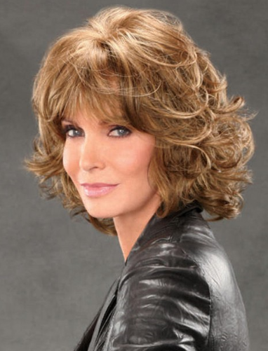 Jaclyn Smith Mid-length Shag with Spiral Curls Capless Synthetic ...