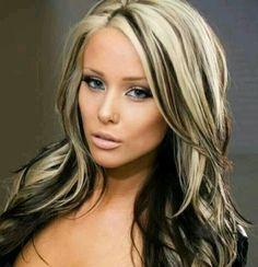 Blonde hair with black