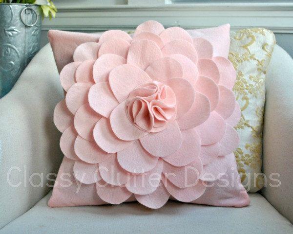 Light Pink Felt Flower Pillow Cover By Mallorynikolaus On Etsy Felt Flower Pillow Diy Flower Pillow Flower Pillow