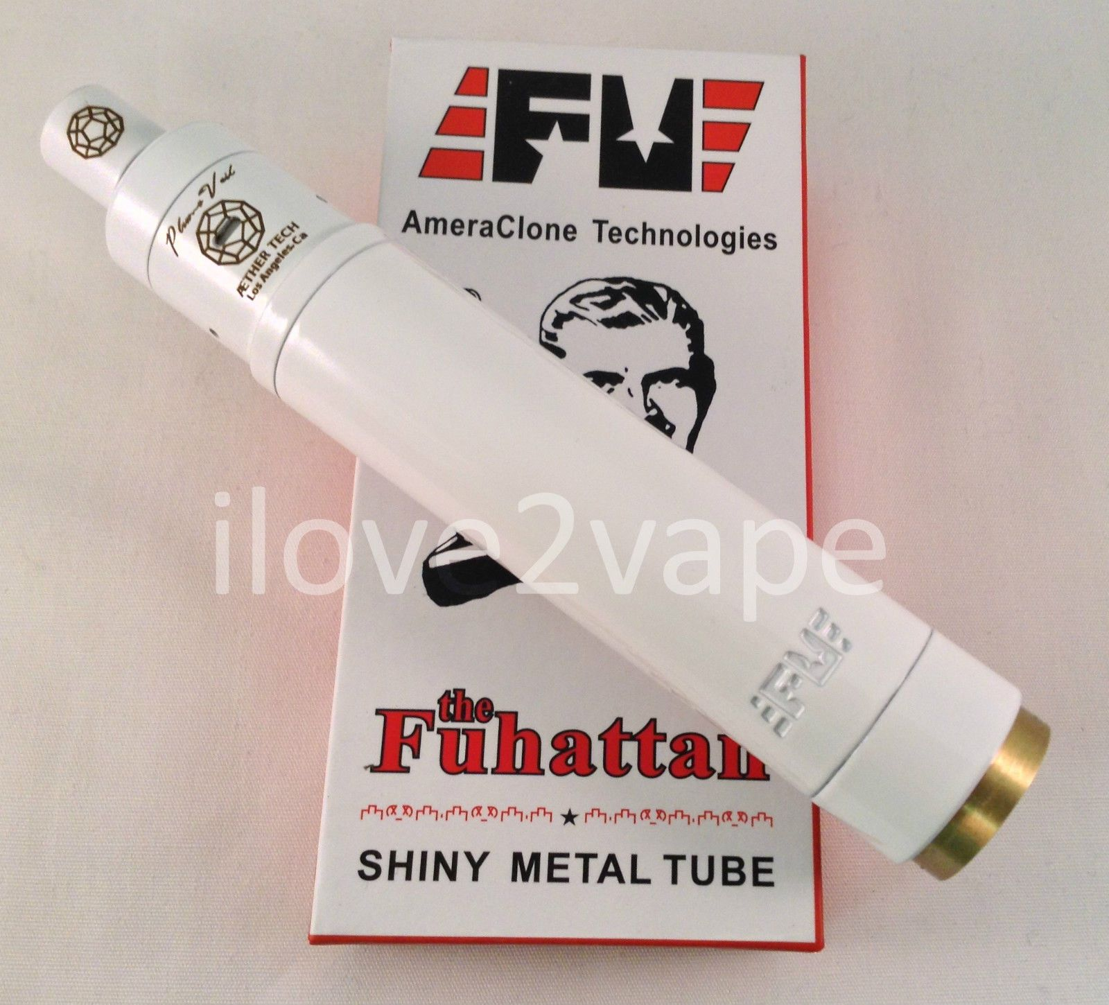 White Plume Veil Style Rda With White Fuhattan 18650 Magnetic
