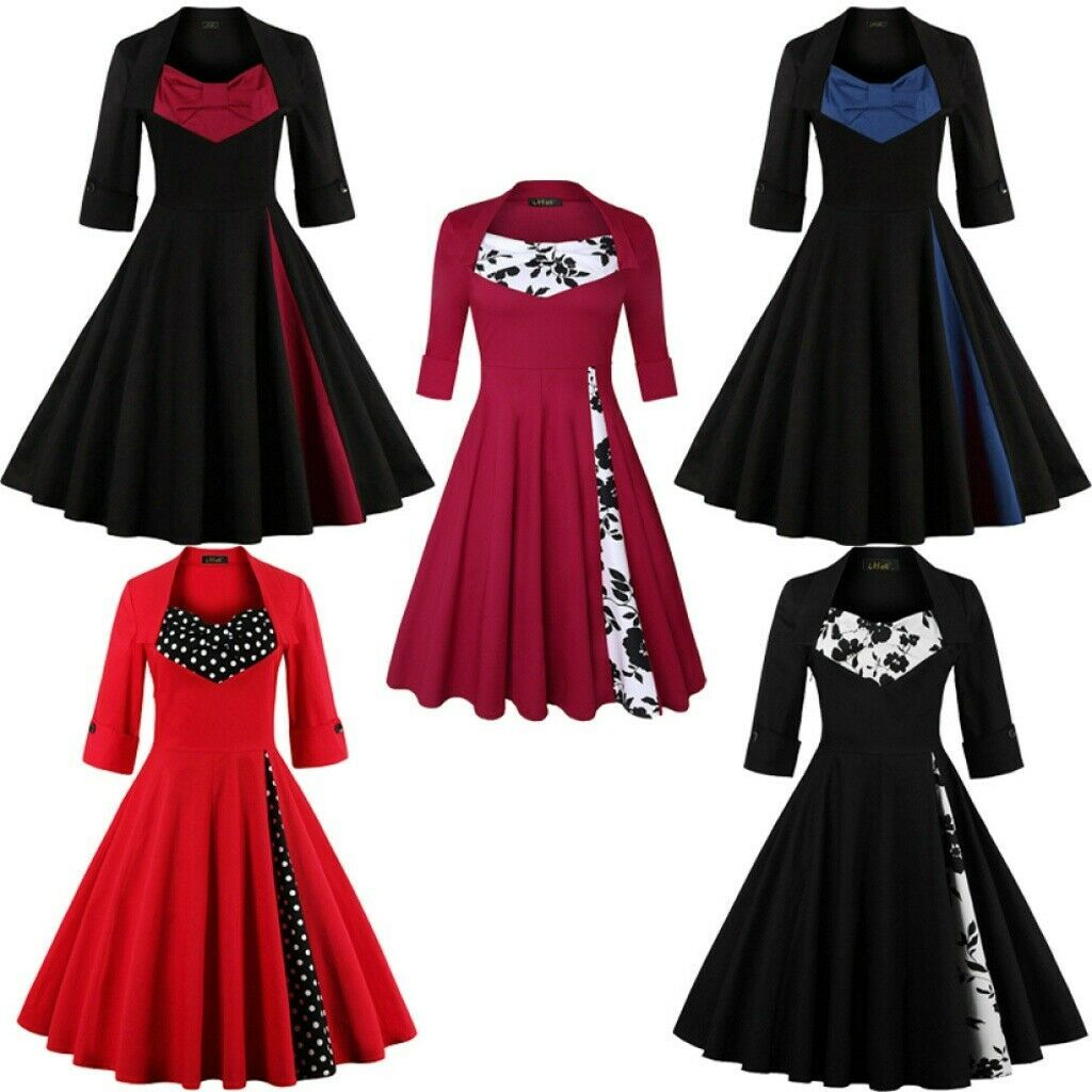 Women Plus Size Short Sleeve Silm Floral Vintage Hepburn Party Cocktail Dresses Dress Honey In 2020 Cocktail Dress Party Vintage Dresses Dresses