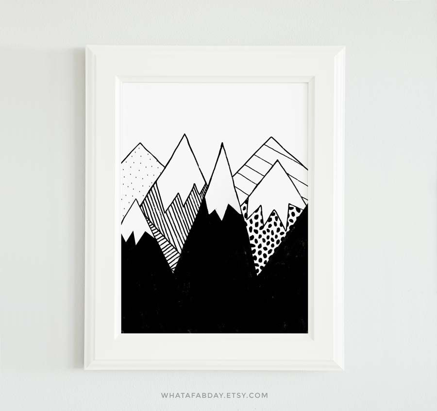 Clever Kids Room Wall Decor Ideas Inspiration: Nursery Decoration, Mountain Wall Art, Mountain Print
