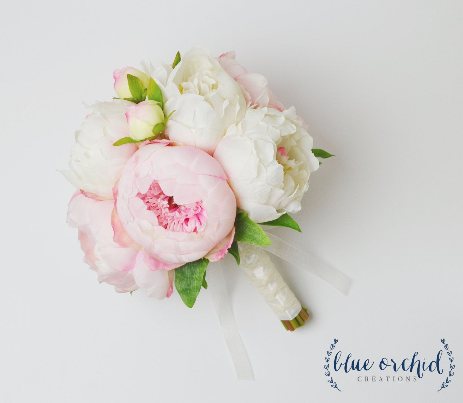 Peony Bouquet With White And Pink Peonies Silk Peony Wedding Bouquet Peonies Cream And Blush Peo Peony Bouquet Wedding Peonies Bouquet Small Flower Bouquet