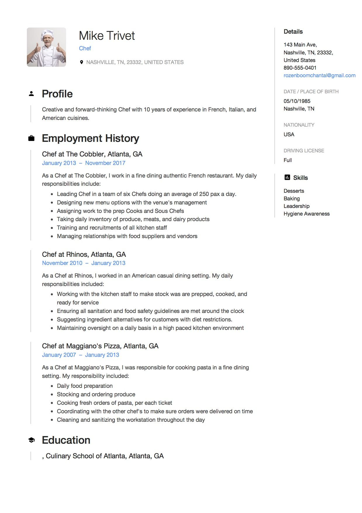 Chef Resume Template In