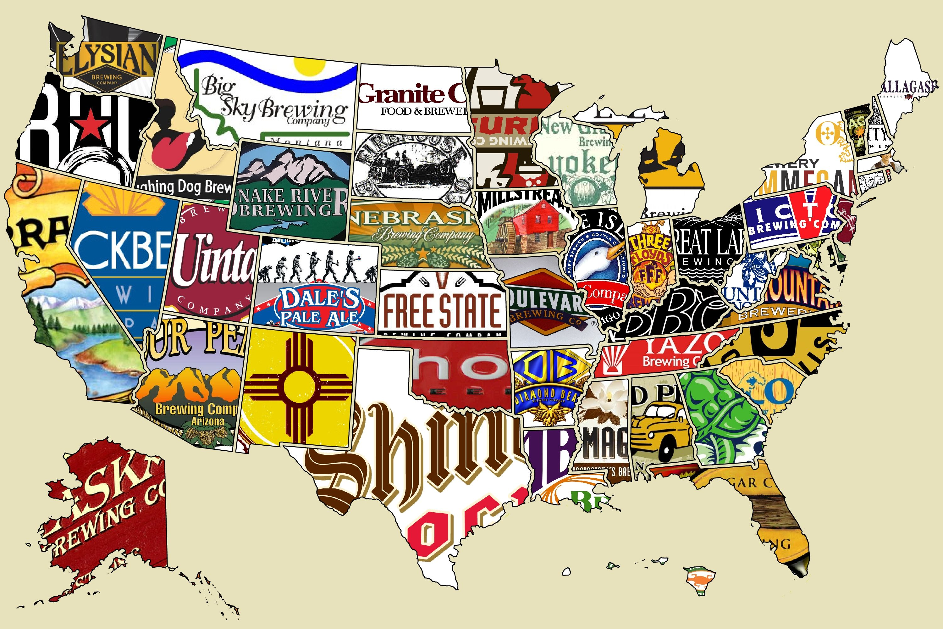 united states beer map Great map of beer per state. I can confirm that Four Peaks is the