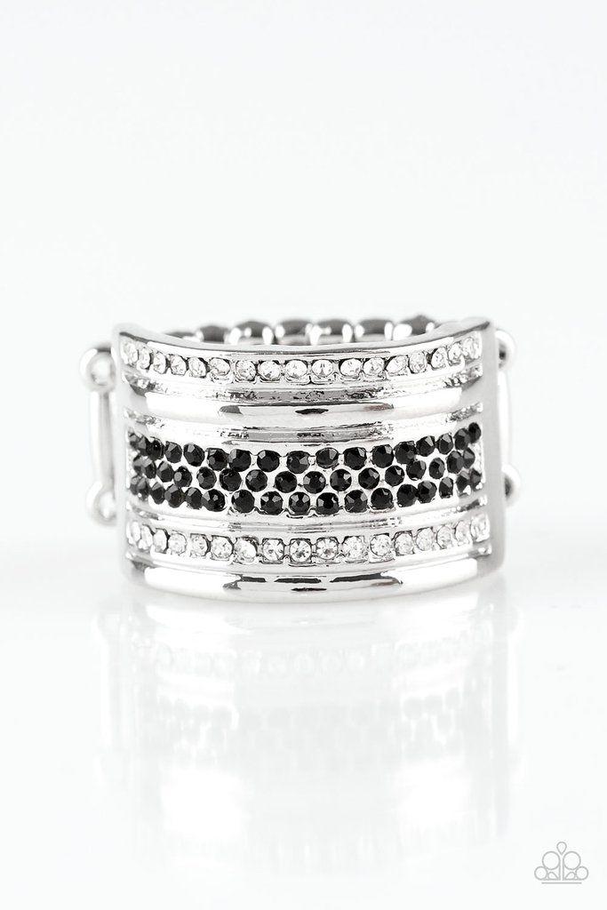 Top Dollar Drama Black Rings Paparazzi Accessories Jewelry White Rhinestone