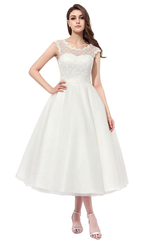 7e52ec60e5e Firose Vintage 1950s Style Polka Dotted Tea Length Little Wedding Dress  White US 20plus at Amazon Women s Clothing store