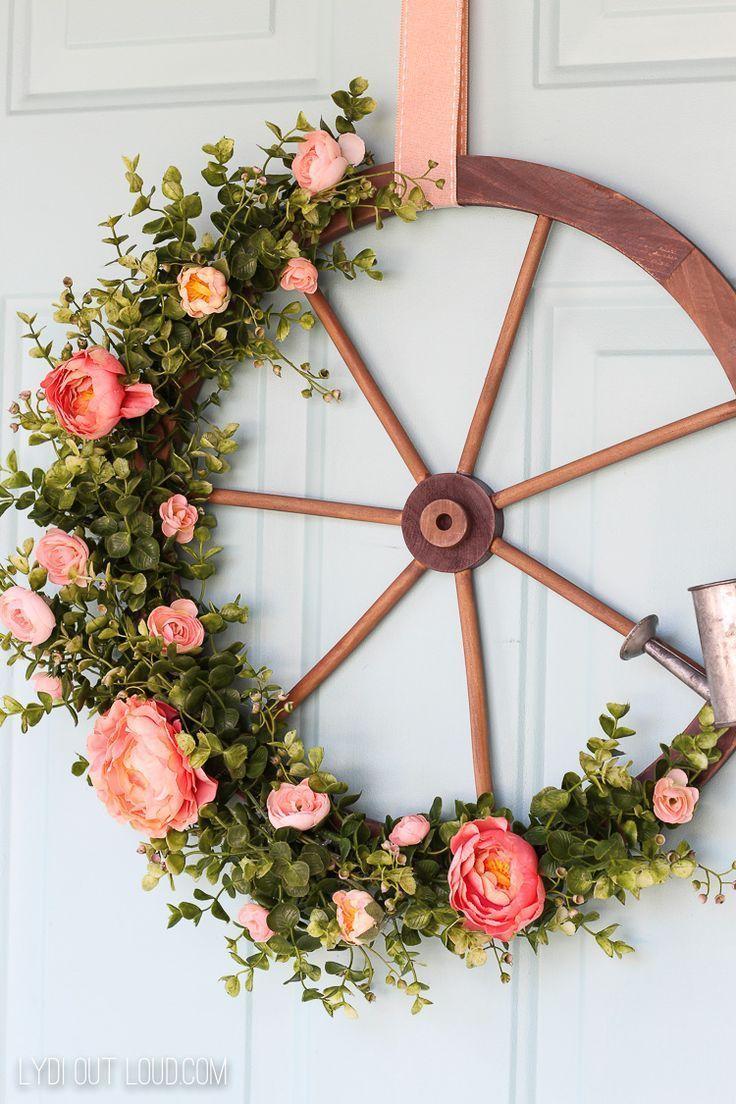Wagon wheel farmhouse style wreath door decor home inspirations