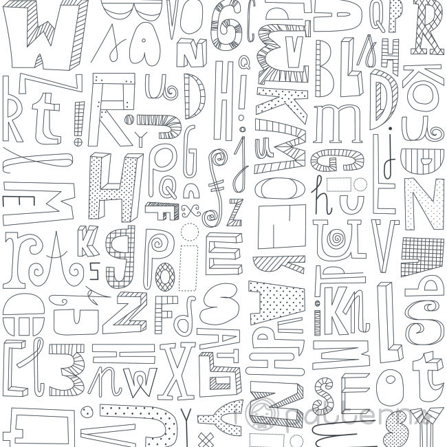 Black and White Letters (seamless, repeating) pattern design ...