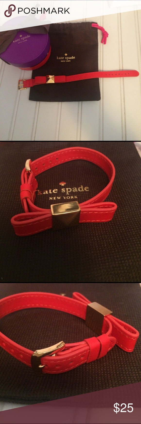 Kate spade red bow bracelet like new red leather strap with gold