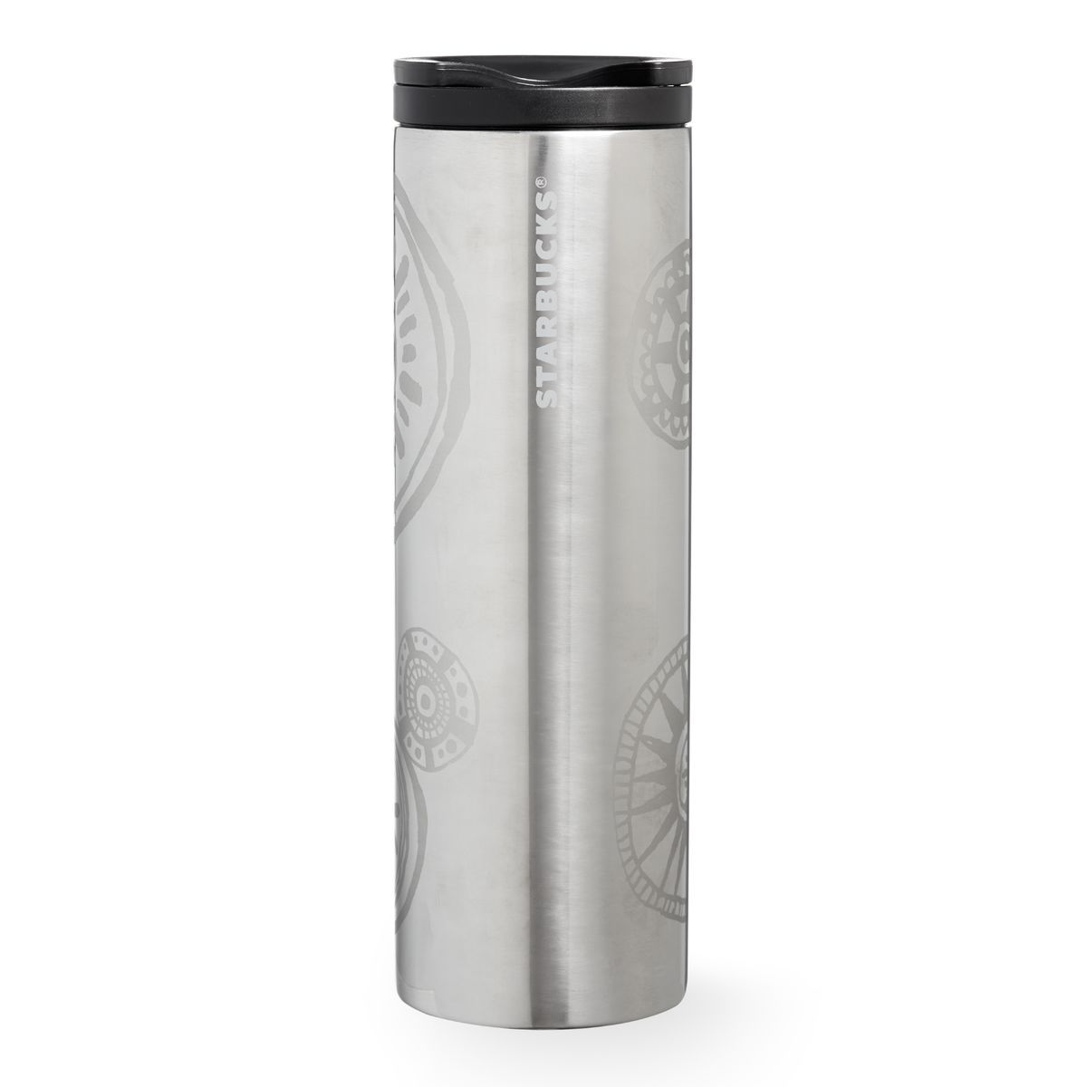 Stainless steel ornaments - A Double Walled Stainless Steel Coffee Tumbler Featuring Ornament Art And A High