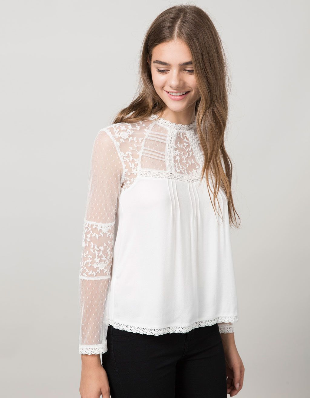 tie front button sleeve blouse in cream - Ecru Bershka For Sale 2018 Clearance Factory Outlet pe8Hr