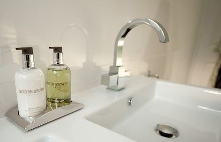 Interesting square edges on basin tap - looks very modern and unique. Molton Brown adds extra class to the bathroom design