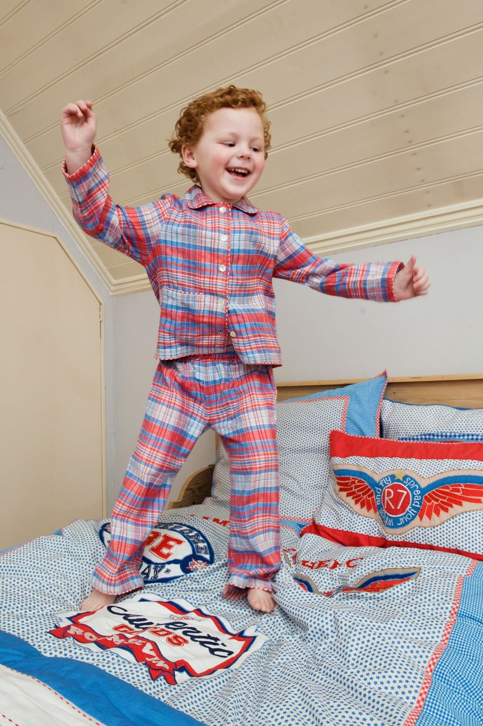 Room Seven Pajamas Nino Blue Red Beige Check - available at www.simplydutch.com - worldwide shipping