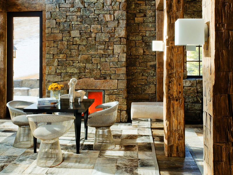 Rustic stone adds texture to this modern space Modern Rustic