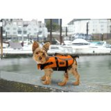 Saftey first in or near water.  Just like humans, dogs that swim or boat should wear a life jacket.