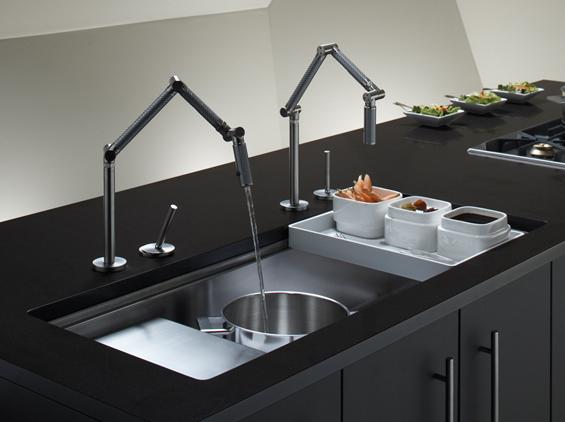 """Kohler Karbon Faucet, and stages 45"""" under mount sink"""