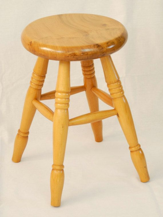 Awe Inspiring Vintage Solid Wooden Stool Rustic Lovely By Mahoganycreek On Bralicious Painted Fabric Chair Ideas Braliciousco