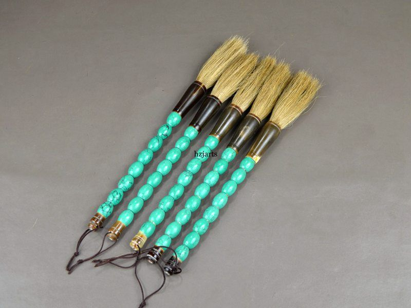 Green Turquoise Stone Chinese Calligraphy Brushes Furniture Decor