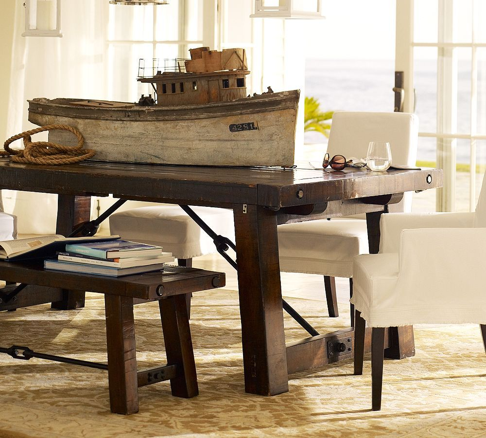 The Emerson Rustic Trestle Dining Table  Farmhouse Trestles Best Dining Room Tables Pottery Barn Review