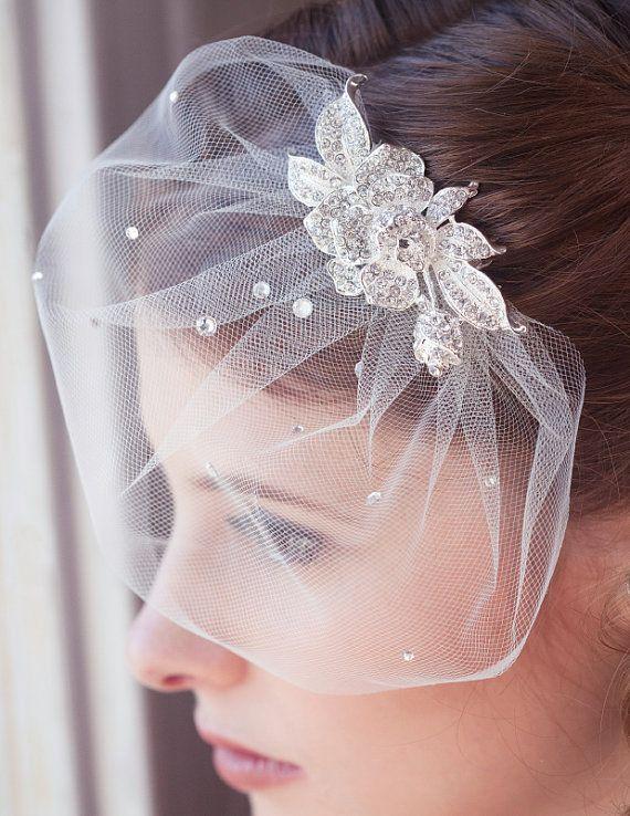Ivory Birdcage Mini Veil Bridal Veil Tulle By Gildedshadows Wedding Veils Short Short Veil Diy Wedding Veil