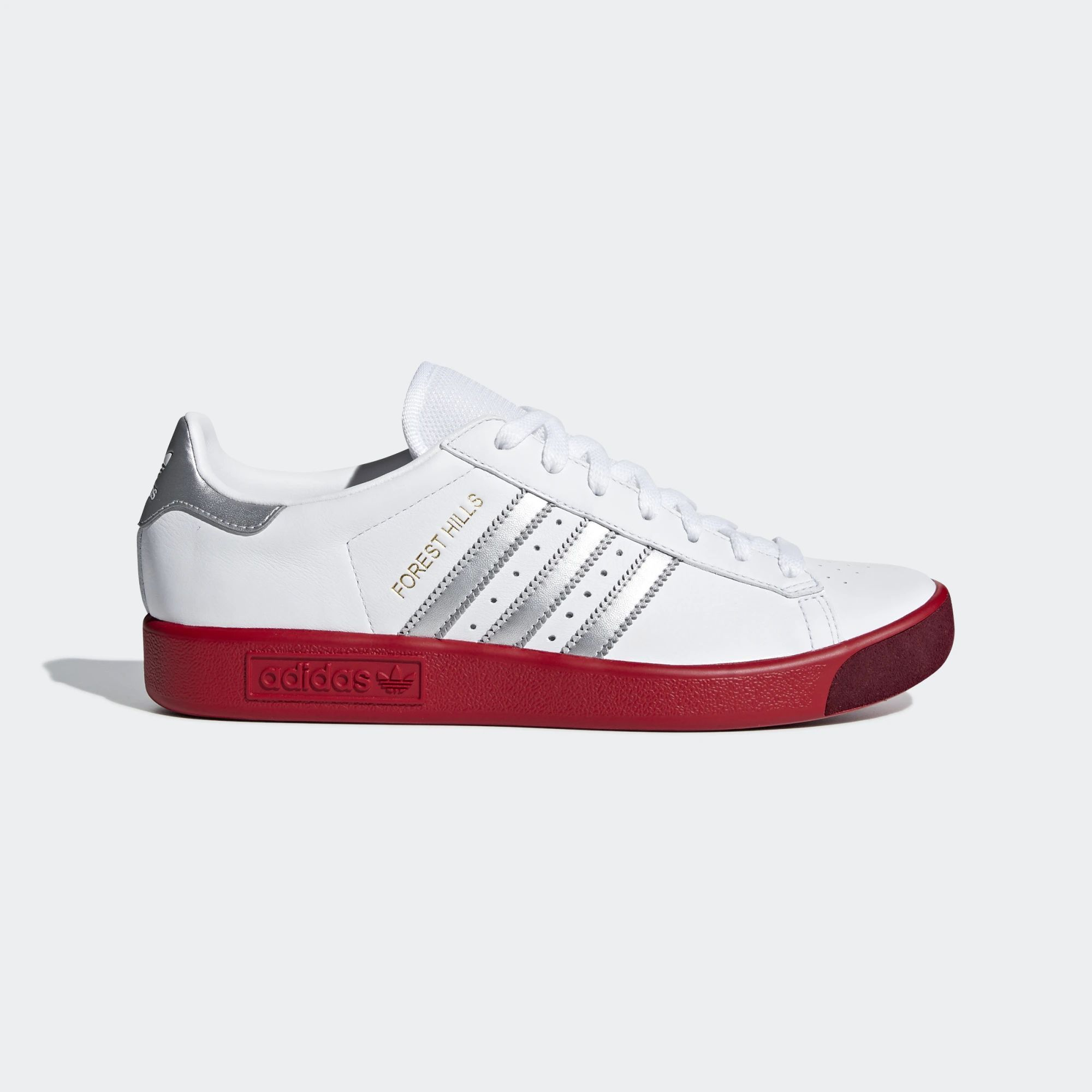 Adidas Forest Hills Shoes - Ftwr White   Silver Met   Scarlet ... 371be3054