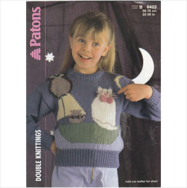 8403 Patons Knitting Pattern Child\'s Jumper The Owl & the Pussy Cat ...