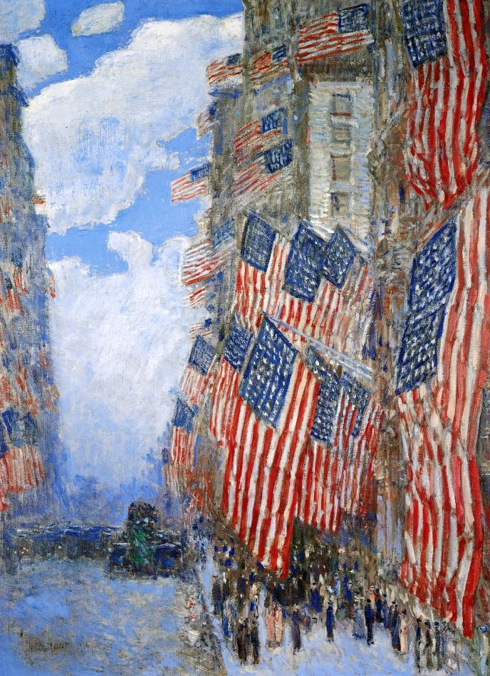 *The Fourth of July, 1916   (also known as The Greatest Display of the American Flag Ever Seen in New York, Climax of the Preparedness Parade in May)  Frederick Childe Hassam - 1916  Private collection  Painting - oil on canvas  Height: 91.44 cm (36 in.), Width: 66.36 cm (26.13 in.)
