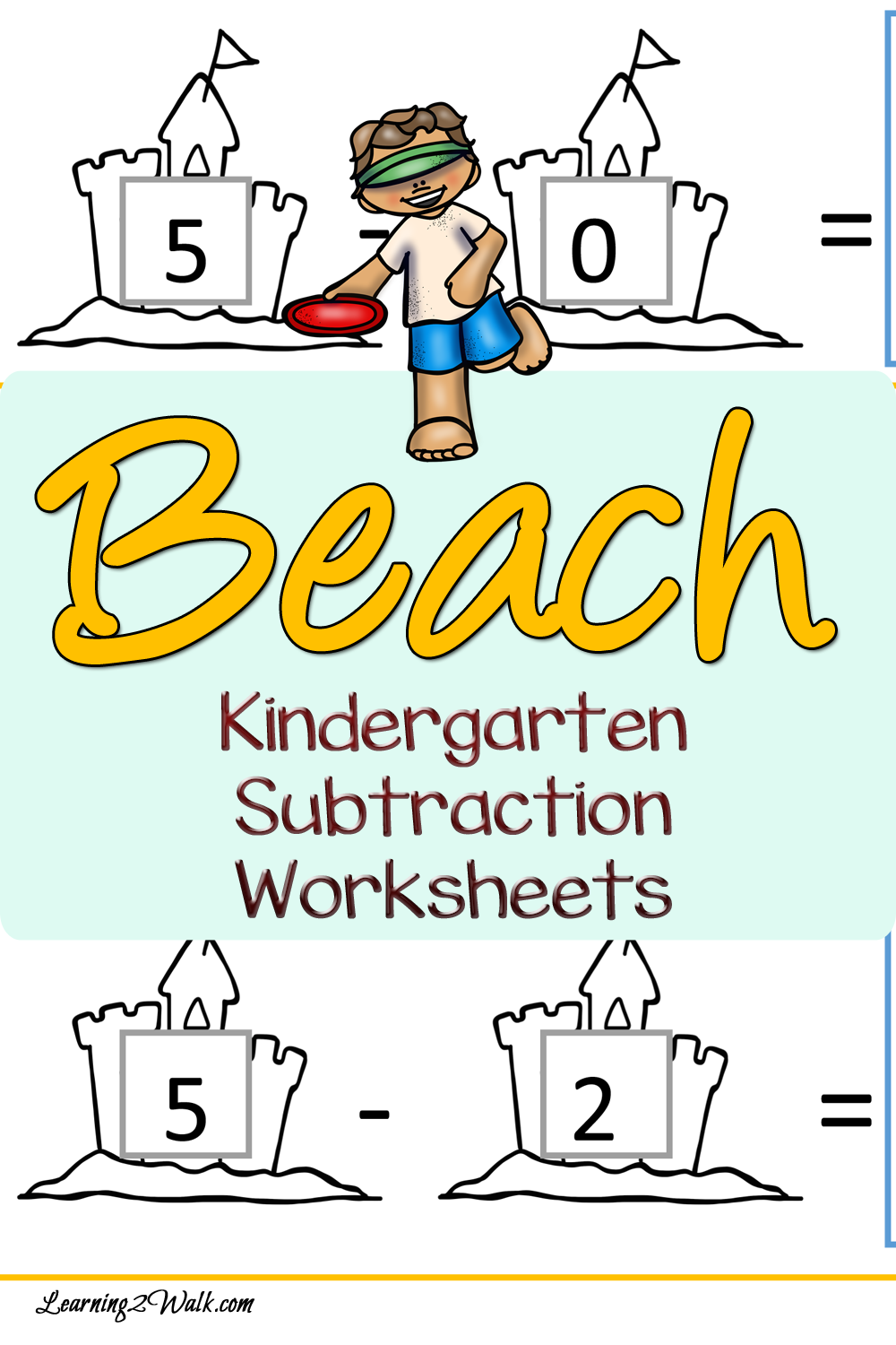 Beach Kindergarten Subtraction Worksheets | Subtraction worksheets ...