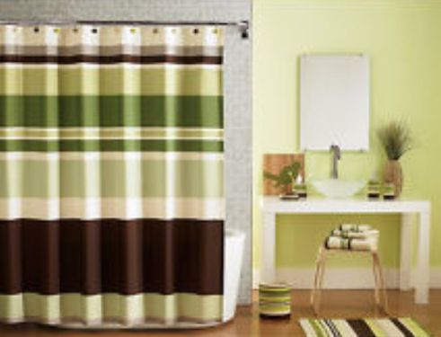 Shower Curtain Is Similar Green Accent Wall With Brown Or Tan Bathroom Decor Green Accent Walls Green Bathroom