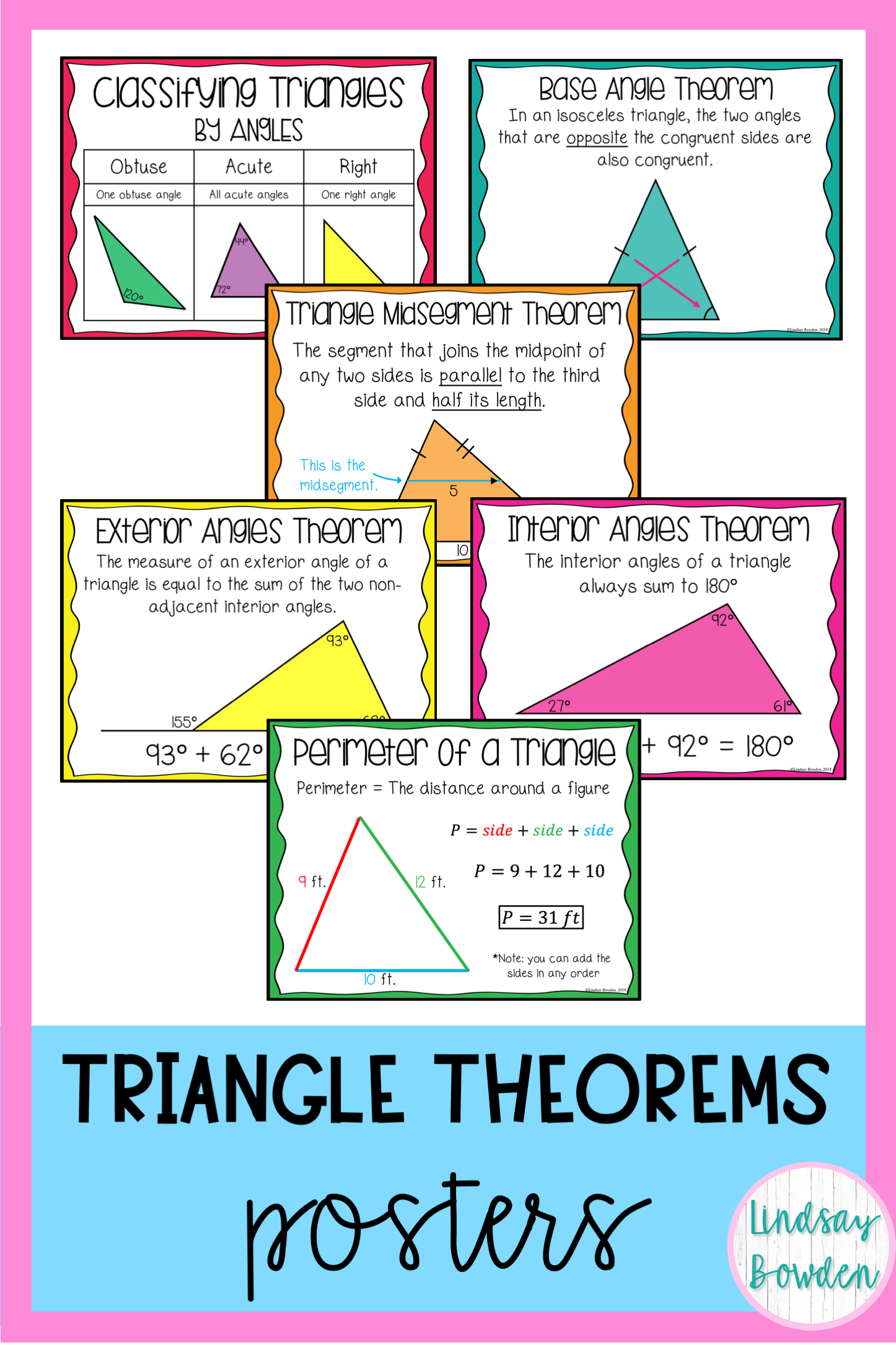 Triangle Theorems Posters Geometry Word Wall