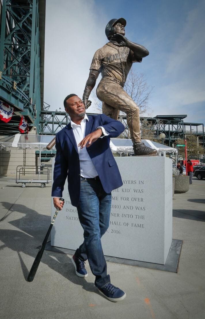Former Seattle Mariner and HOFer Ken Griffey Jr striking a pose at the unveiling of his new statue at Safeco Field 4/13/17