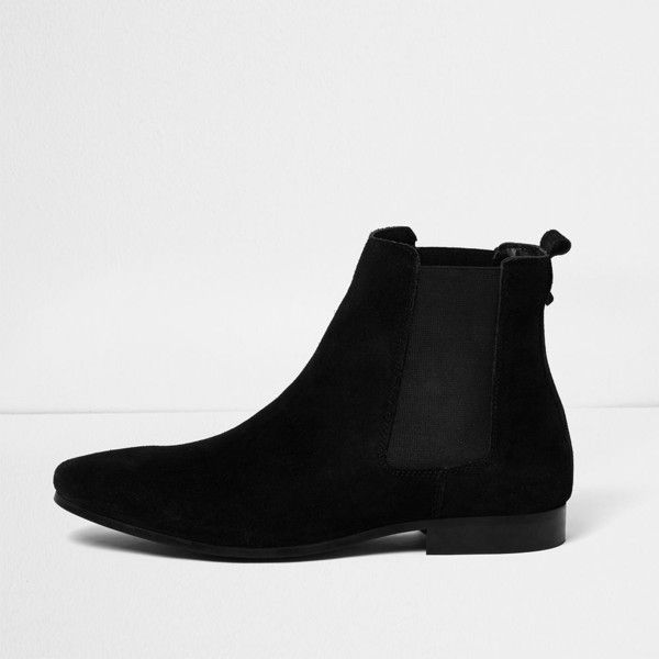on feet shots of new york cheapest River Island Black suede tall Chelsea boots ($50) ❤ liked ...