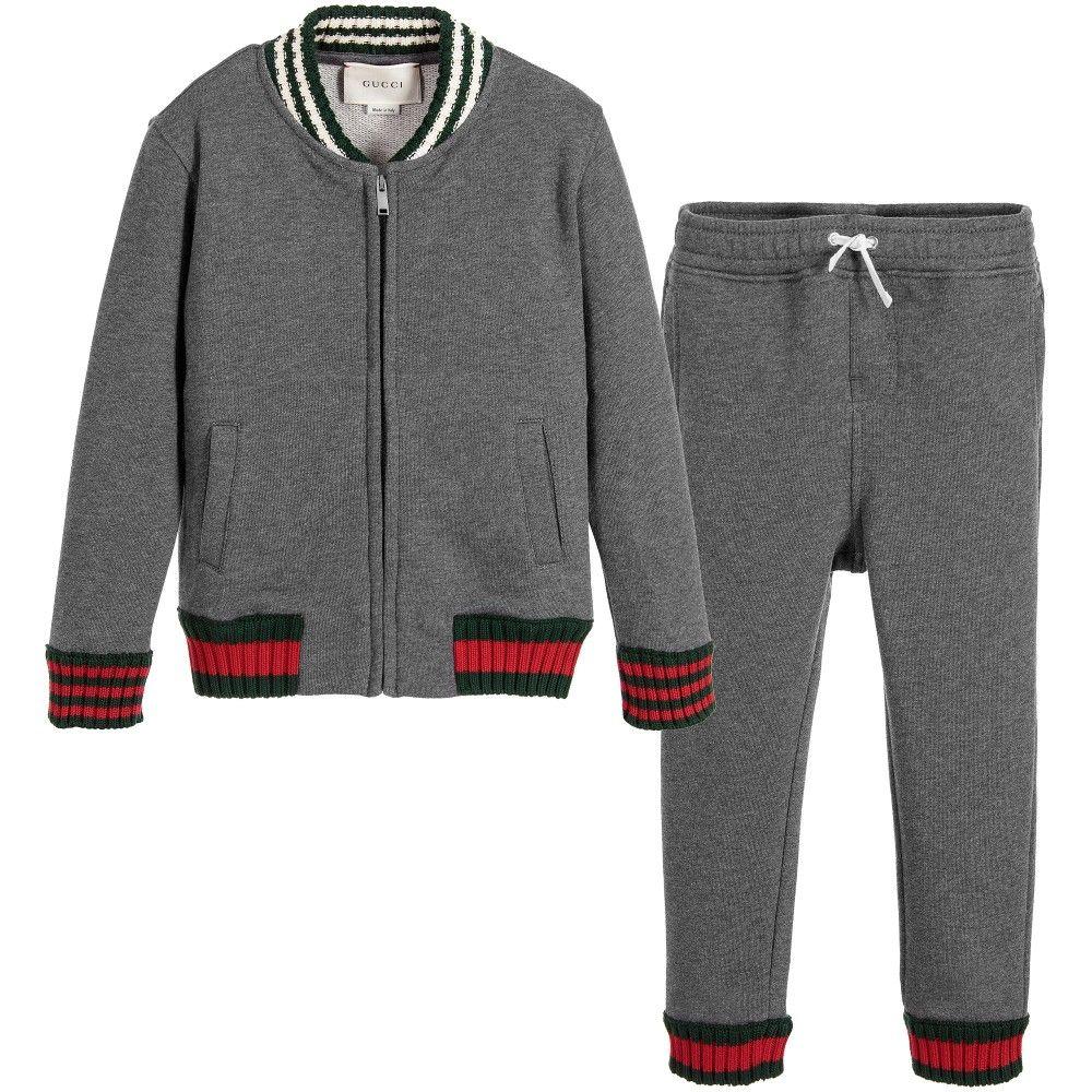 56622664d ƙỈɗʂ.¸¸. ƒαʂɦỈσɳ / Gucci Boys Grey Cotton Jersey Tracksuit at ...