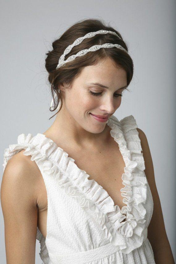 Double Headband Bridal Rhinestone Beaded Or Halo