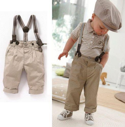Bib Pants Clothes US Newborn Kids Baby Boy Gentleman 2PCS Outfits Vest Tops