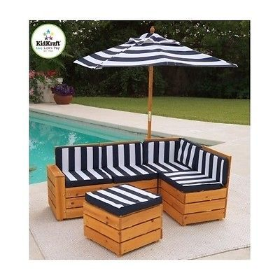 Child Patio Furniture Set Pool Deck Lawn Outdoor Sofa Wood Umbrella Kid 5 Pc