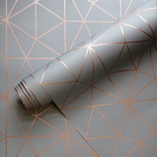 Metro Prism Geometric Triangle Wallpaper - Charcoal Grey and Copper - WOW007 -   16 room decor Wall paper ideas