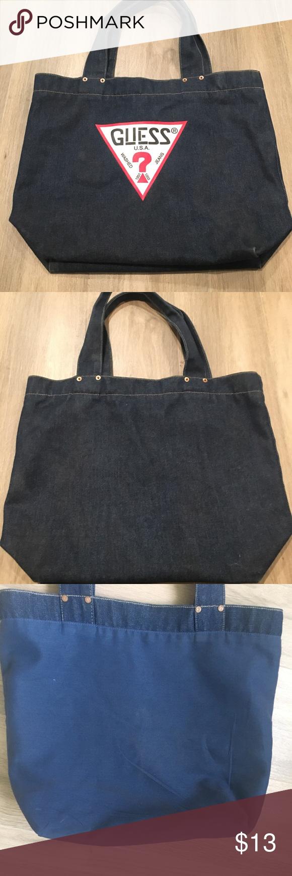 Guess Dark Denim Bag   tote Super cute dark denim guess tote for any  occasions Used a94caac013