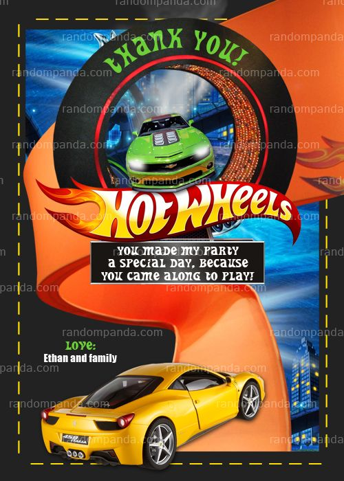 hot wheels thank you card  race car birthday thanks note