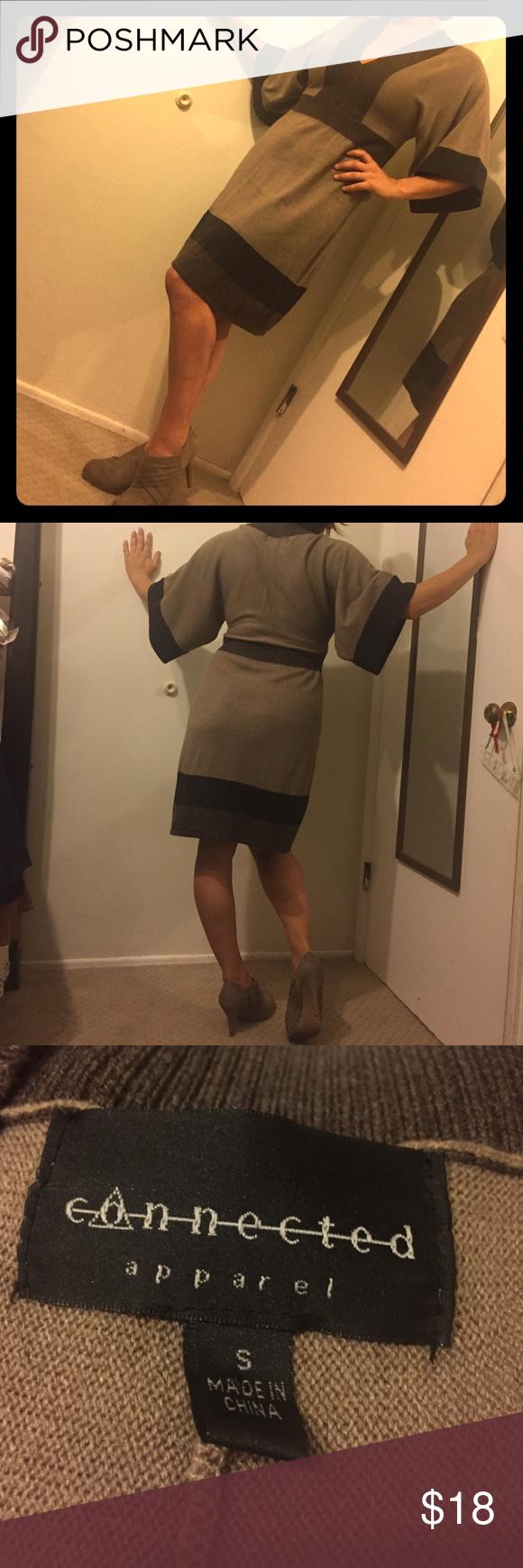 Kimono style dress in beige and dark brown warm nice and kimonos