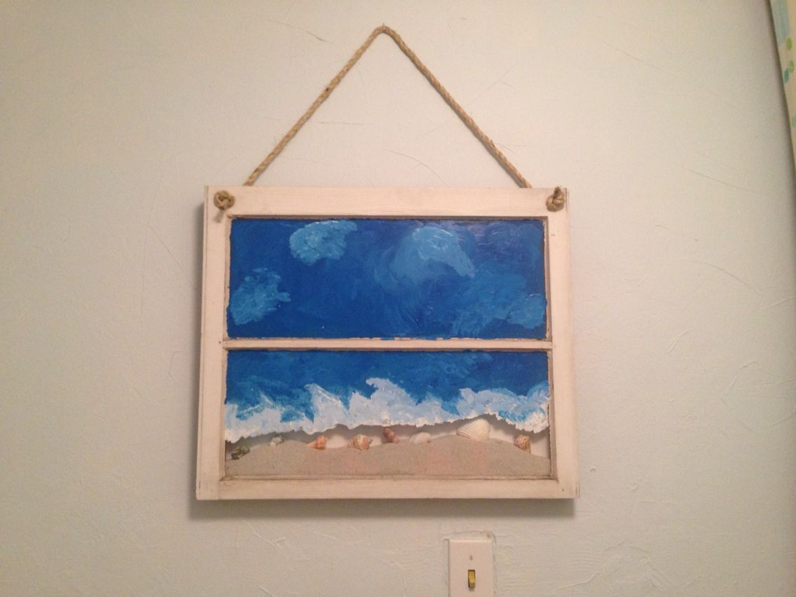 Picture for the pool bathroom made out of an old window adding sand and shells, artwork with Memories