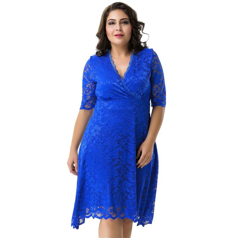 Newly Fits Flared Floral Laces Dresses Plus Size Sweet Lace Pleated Skater  Dresses Black Wine Red Elegant Party Casual Dress 43996732a098