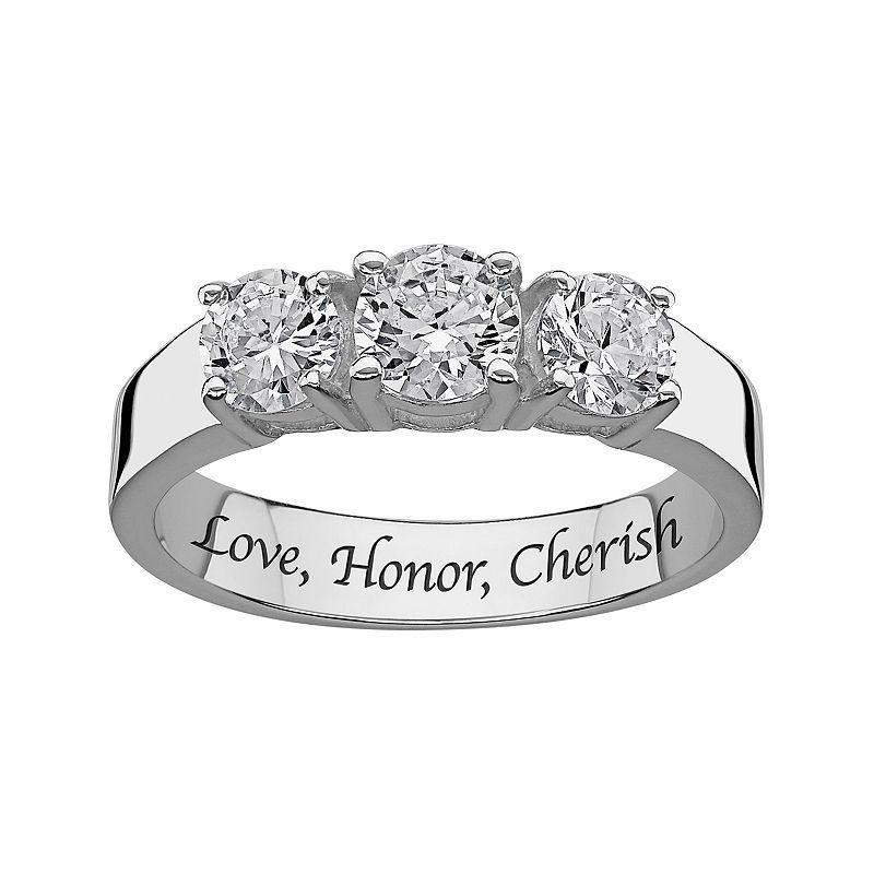 6584c25ba Sweet Sentiments Cubic Zirconia 3-Stone Engagement Ring in Sterling Silver,  Women's, Size: 6, White