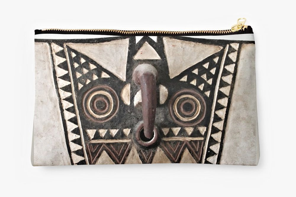 ZIPPERED POUCH/ ACCESSORY BAG w/EXCLUSIVE AFRICAN BOBO BWA HAWK MASK DESIGN #ExclusiveCustomDesignCustomMade #CosmeticAccessoriesBag