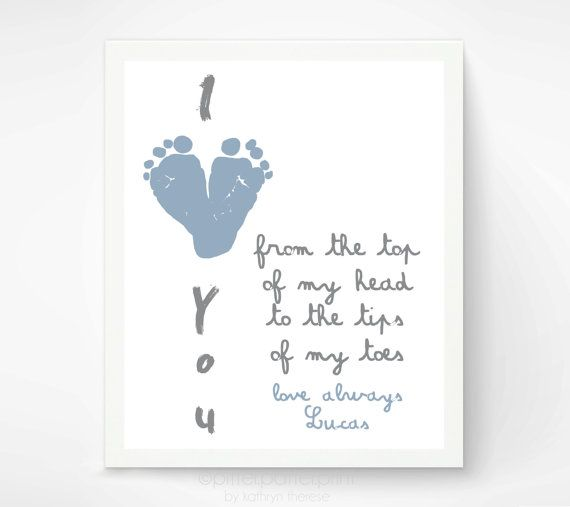 Gift for grandparents i love you baby by pitterpatterprint diy to first fathers day gift for new dad i love you baby footprint heart personalized gift for grandpa daddy grandfather negle Gallery